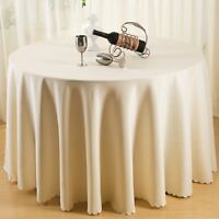 Beige Round Polyester Tablecloth Wedding Party Banquet Dining Table Cloth Cover