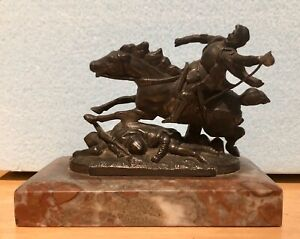 Antique Bronze Sculpture Joan of Arc Enters Chinon Copy of Original by Roulleau