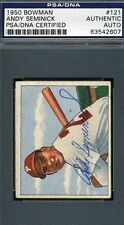 ANDY SEMINICK PHILLIES AUTOGRAPH PSA/DNA 1950 BOWMAN AUTHENTIC SIGNED
