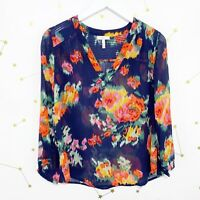 Joie Silk Blouse Size XXS 2XS Blue Floral Print Sheer V Neck Axcel Smocked Top