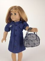 "Doll Clothes 18"" Dress Jean Embroidered Flower Fits American Girl Dolls"