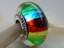 Beautiful Pandora Murano Glass Charm Bead Rainbow Silver S925 ALE New,