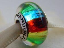 Beautiful Pandora Murano Glass Charm Bead Rainbow Silver S925 ALE New,
