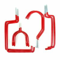 8PC WALL HOOK SET RED RUBBER COATED GARAGE TOOL EQUIPMENT LADDER HANGING STORAGE