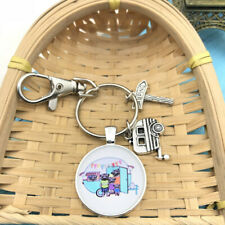 1 Pcs Happy Camper Keychain with Camper Charm Camping Keychain Pendant 3818