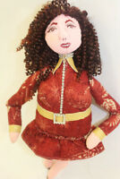 Collectible OOAK Hand-Painted Cloth Art Doll in Floral Print