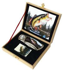 Fish Pocket Knife In Display Box With Oil Lighter stainless #480 fisherman sport