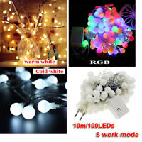 10M Fairy LED String Lights Christmas Round Ball Blubs Wedding Party Lamp In/Out