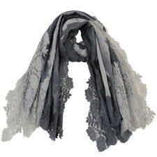 Grey And Light Grey Shaded Lace Scarf