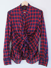 Moda International Sz L Red Blue Check Ruffle Front Long Sleeve Shirt Blouse Top