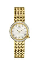 Bulova Women's 98R218 Quartz Diamond Accent Gold Bracelet 28mm Watch