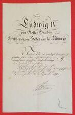 Bestallungsurkunde LUDWIG IV. VON HESSEN, Großherzog Hessen-Darmstadt, 1891