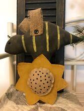Primitive Summer Garden Honey Bee Doll Sunflower Makedo Antique Wood Bobbin