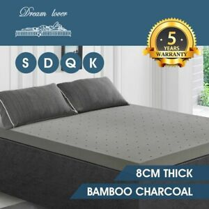 8CM Memory Foam Mattress Topper Bamboo Charcoal Underlay Toppers