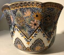 Asian chinese Hand Painted/Gold  highlights BluesPurples- Red Stamp&21 On bottom