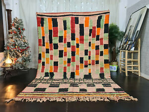 "Moroccan Vintage Boujaad Handmade Rug 6'5""x9'6"" Berber Checkered Pink Wool Rug"
