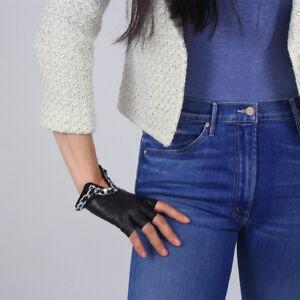 Real Leather Fingerless Short Gloves Lambskin Half Finger Black w/ Silver Chain