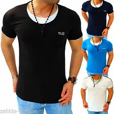 Herren JEEL T-Shirt Shirt Top Qualität 2 in 1 Party Clubwear S-XL t.6.7 [312566]