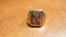 VINTAGE MEN'S RING SIGNET 14K GOLD WITH ANTIQUE CUT DIAMOND 7.9 GRAM INITIALS BK