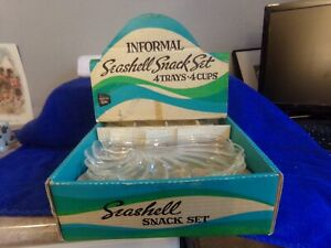 Vintage Hazel Ware Informal Seashell Snack Set 4 trays, 4 cups in Original Box