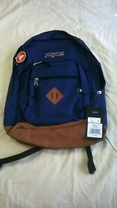 JanSport City View Backpack New with Tags Dark Blue w/ brown faux leather bottom