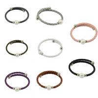 Braided Men Women Leather Pearl Bracelet Wrap No Clasp Adjustable Bangle