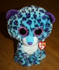 """NWT 9"""" TY BEANIE BOOS LIZZIE THE LEOPARD CLAIRE'S EXCLUSIVE Blue Purple 2016"""
