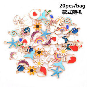 20Pcs/Set DIY Mixed Enamel Random Color Alloy Pendant Charms Jewelry Accessories