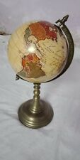 "28"" Circumference Semi Precious World Globe With Aluminum  base"