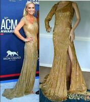 New NWT $14,860 Roberto Cavalli Gold Long Maxi Gown Evening Dress US 2 4 / IT 40