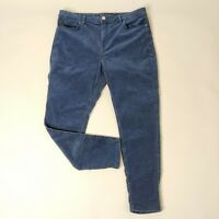 Marks And Spencer Indigo Blue Needle Cord Trousers Size 18 Short Corduroy Pants