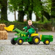 John Deere Large Trailer and Loader Tractor Kids Pedal Car Ride On Outdoor Fun