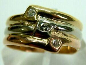 FABULOUS 14K ROSE/YELLOW/WHITE GOLD TRIPLE DIAMONDS BAND RING