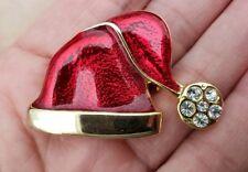 Vintage Christmas Red Santa Hat Pin Brooch Shiny Enamel Rhinestone
