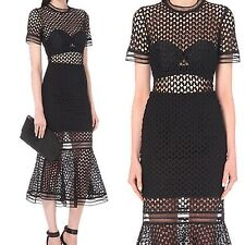 Self Portrait Arabesque Lace Flounced Long Midi Black Party Dress Size 10 US 6