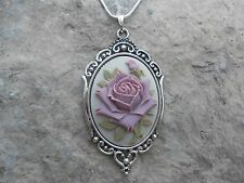 STUNNING PURPLE ROSE CAMEO NECKLACE!!! QUALITY!!! BEAUTIFUL DETAIL/COLORS!!!