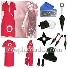 Naruto Sakura Cosplay Costume outfit+shoes+props+headband