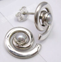 AAA FRESH WATER PEARL, 925 Sterling Silver SPIRAL STUDS POST HOT Earrings 0.6""