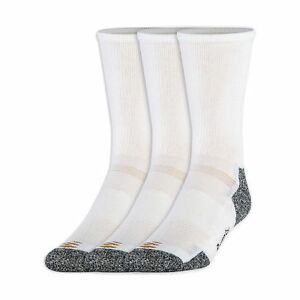 PowerSox Men's Power-Lites 3-Pack Crew Socks with Moisture Control White