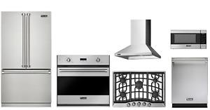 """Viking 3 Series Package 36"""" Refrigerator, 36"""" Gas Cooktop, Oven, Microwave, Hood"""