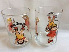1984 set of 2 Cabbage  Patch Kids Clear Juice Glass Children Play Jump Rope