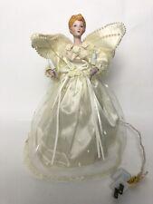 Silvestri Christmas Angel Lighted Tree Topper Porcelain Blonde Hair Vintage