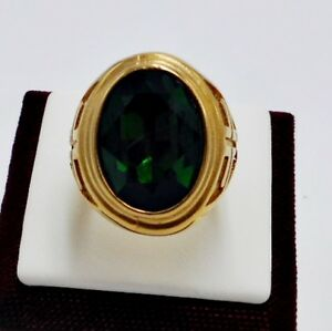 RING MEN EMERALD STAINLESS STEEL YELLOW GOLD CROSS KNIGHT TEMPLAR POPE SIZE 10 j