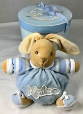 Kaloo Plush Bunny Rabbit Baby Comforter Squishy Soft Doudou Tan Blue France Box