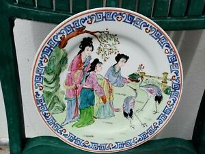 Dish Chinese Porcelain Painted Republic Period Qianlong Mark Top 25,5 CM