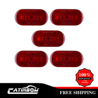 """5x Red LED Truck Trailer RV Clearance Marker Lights Reflective 6 diodes 4""""x 2"""""""