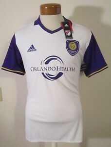 NWT Adidas Orlando City SC Mens 2017  Replica Away Soccer Jersey L White MSRP$85