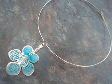 LARGE  Silver Enamel Scottish Floral / Flower Pendant  -  Norman Grant  h/m 1976