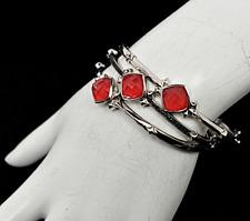 STEPHEN WEBSTER SUPER STUD Red Coral Eye Sterling Silver 3 Bangle Bracelets