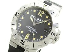 Auth BVLGARI Diagono Scuba SD38S Black Men's Wrist Watch D9010